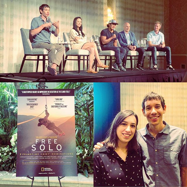 "Geeking out at the Nat Geo SOC ""Free Solo"" lunch! 🤓🎥🏞 . . . #soc #doc #filmmaking #fourseasons #lunch #instadork #natgeo #event #climb #instanerd #camera #panel #wineforbreakfast #cheese #badlighting #peopleinchairs #instagood #whattowatch #goodmovie"