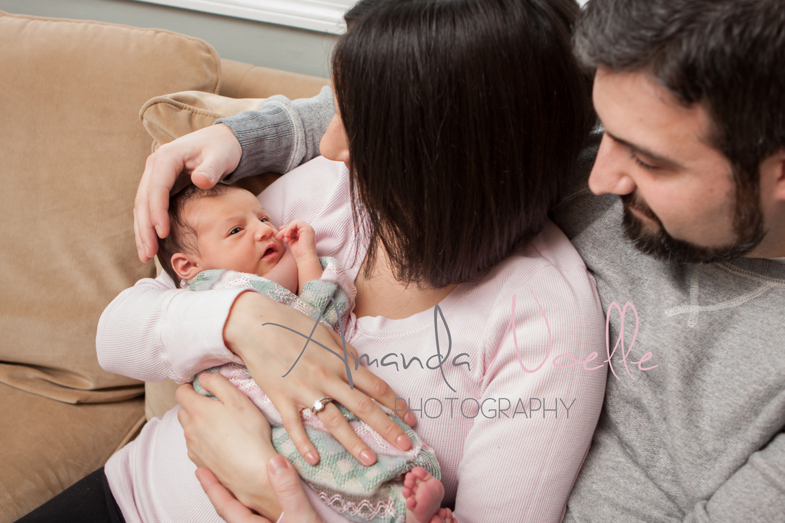 Newborn baby girl, mom and dad, family newborn photos, lifestyle newborn, by Westchester, New York Newborn Photographer, Amanda Noelle Photography.