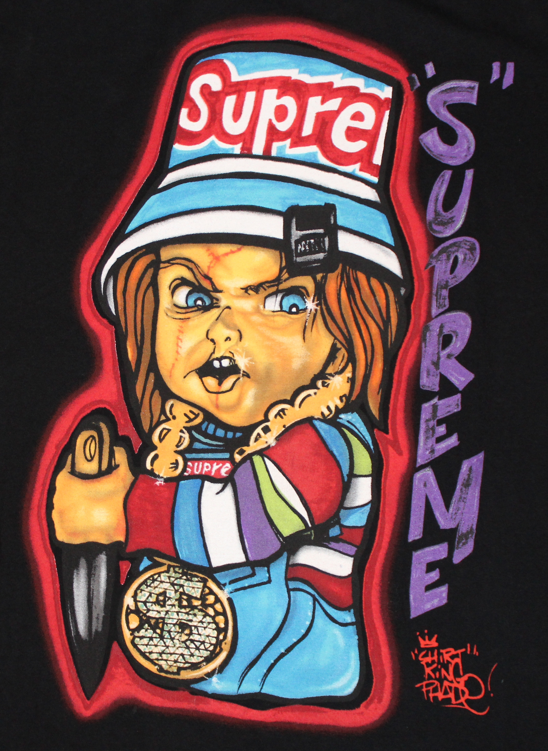 Supreme Chucky X Shirt Kings Black Graffiti T Shirt S/S 14 (Size L