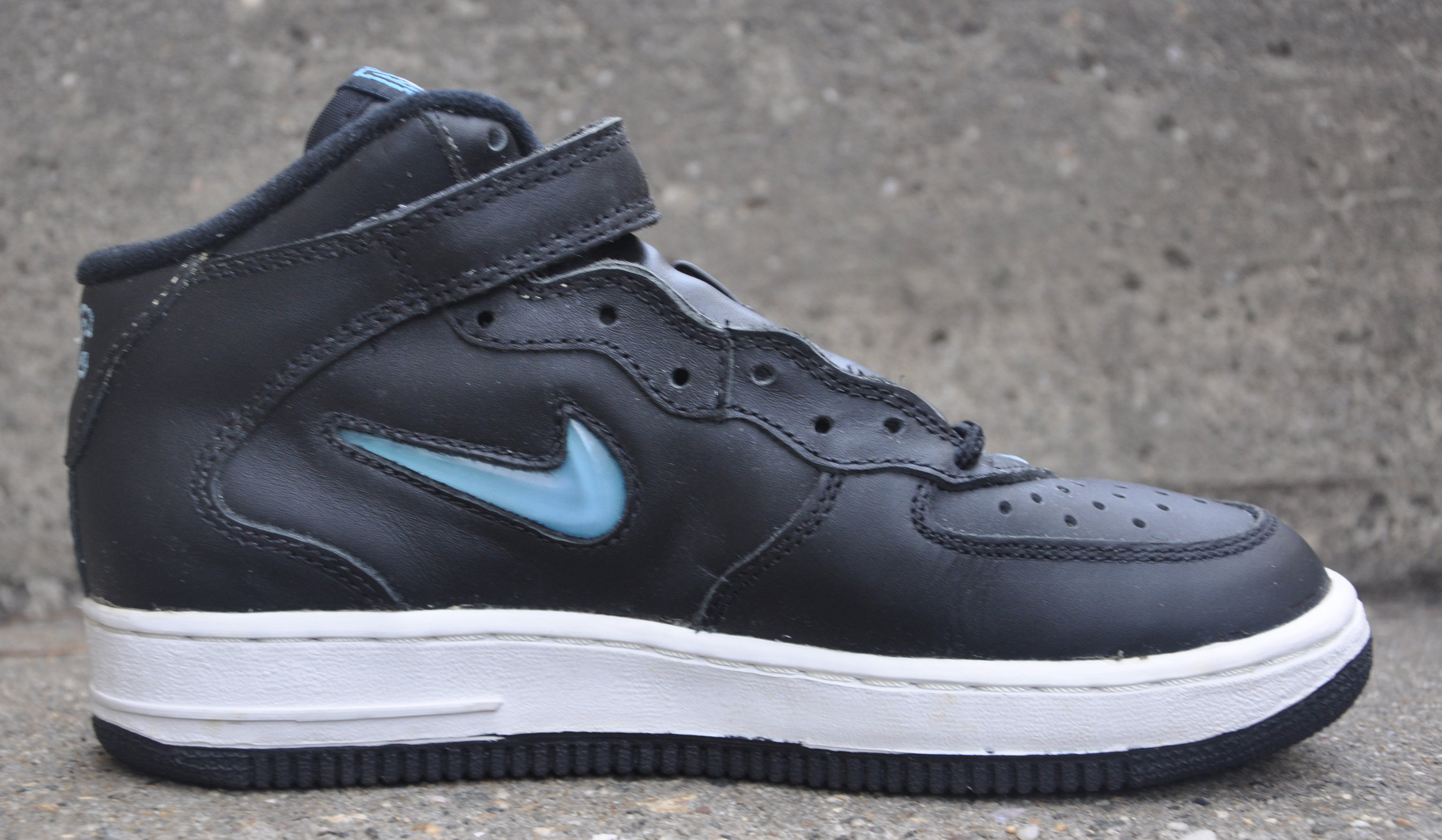 Kids Nike Air Force 1 Mid Nyc Jewel Black Carolina Blue Size 5 5