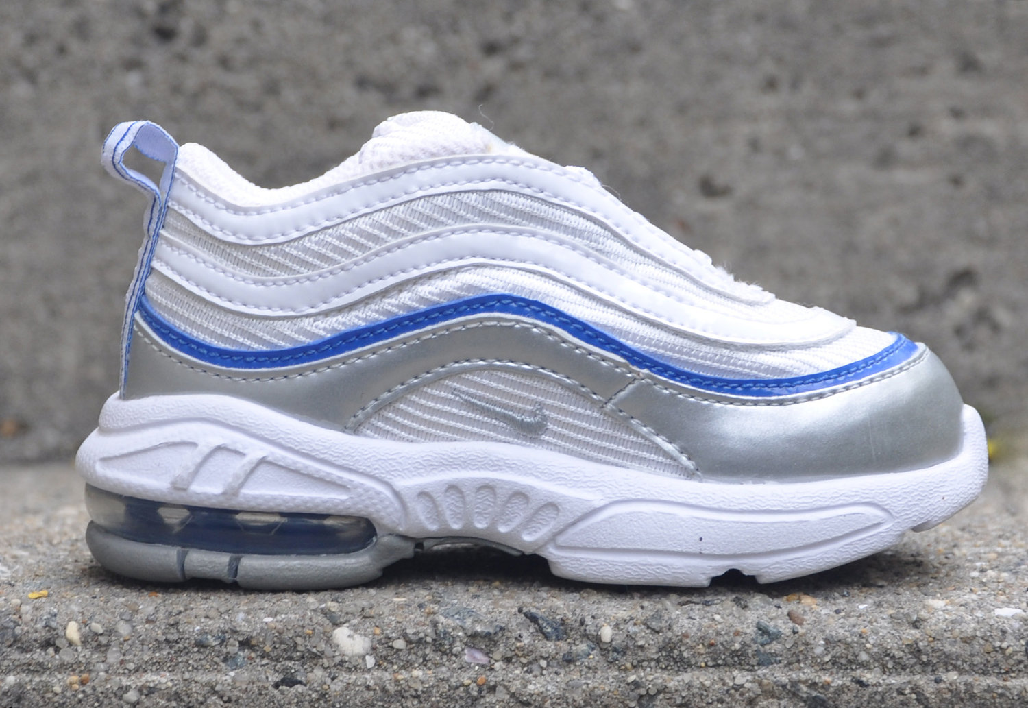 Arthur Conan Doyle ángel Excelente  Baby Nike Little Air Max 97 White / Royal / Silver DS — Roots