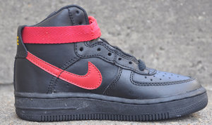 Pre School Nike Air Force 1 High Black True Red Yellow Gold Ds