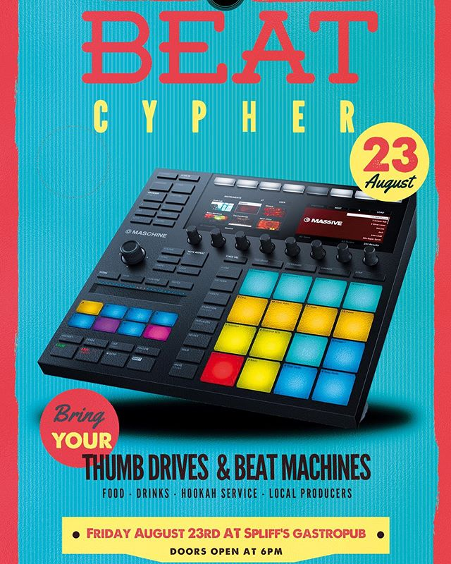 This Friday we are calling all producers to come cypher with us at Hip Hop and Hookah!  Bring your beats on a thumb drive or bring your Beat Machine and play your beats live!  6-9PM at @spliffsgastropub No Cover!  Spread the word with a share!! #beats #production #beatset #music #hiphop #hiphopandhookah #boombap #dj #dtjax #downtownjax #jacksonville #duval #mpc #maschine #cypher