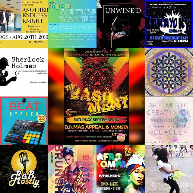 Happy Tuesday, Hip Hop & Hookah Fam!  Here's this week's list of some of the events and dope happenings #GoingDownInDuval that promote art, community, and #TheCulture in Jax!  Don't forget to SAVE THE DATE for the next #JaxBashment and like & follow @JaxBashment on FB, IG, and Twitter!  Visit bit.ly/2TMoXk9 or click the @HipHopAndHookah link in bio for more info! . . . . . Have an event you'd like to share or have featured?  Hit up @iAmEnerJi at iAmEnerJi@gmail.com with the subject heading HIP HOP & HOOKAH EVENT SUBMISSION to be considered! . . . ••• #thingstodoinjax #igersjax #art #community #culture #events #dtjax #music #poetry #culturalfusion #culturalfusionjax #fortheculture #wine #karaoke #beatsbrunchandbubbly #HipHopAndHookah #winedownwednesday #sherlock #chakra #beats #cypher #rnbmostly #afrokompa #duval