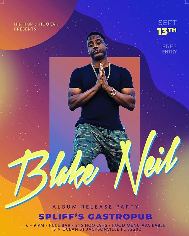 Tonight we are hosting the homie @blakeneilmusic and his Album Release Party during Hip Hop and Hookah!  Come catch a good show and support the homie!  No cover, food, drinks and $15 Hookahs!! #hookah #blakeneil #hiphop #albumrelease #newshit #rnb #cdrelease #music #hiphipandhookah #downtownjax #jax #duval #jacksonville #fridaynights #dtjax #fresh #new #dope #heartofalion