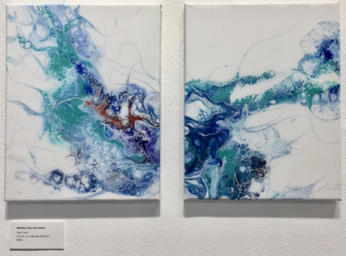 "Sea Foam,  2018  Acrylic on Canvas with Resin Top Coat, Diptych, 11"" x 14"" each  $450"