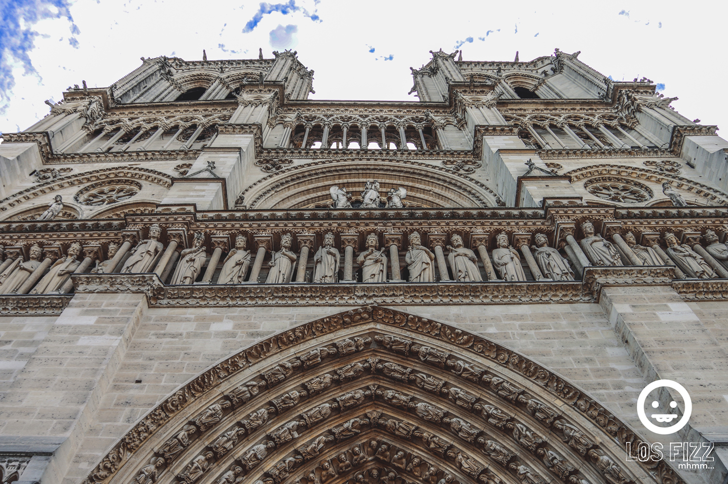 Front of Notre Dame cathedral in Paris, France Photo By LosFizz.