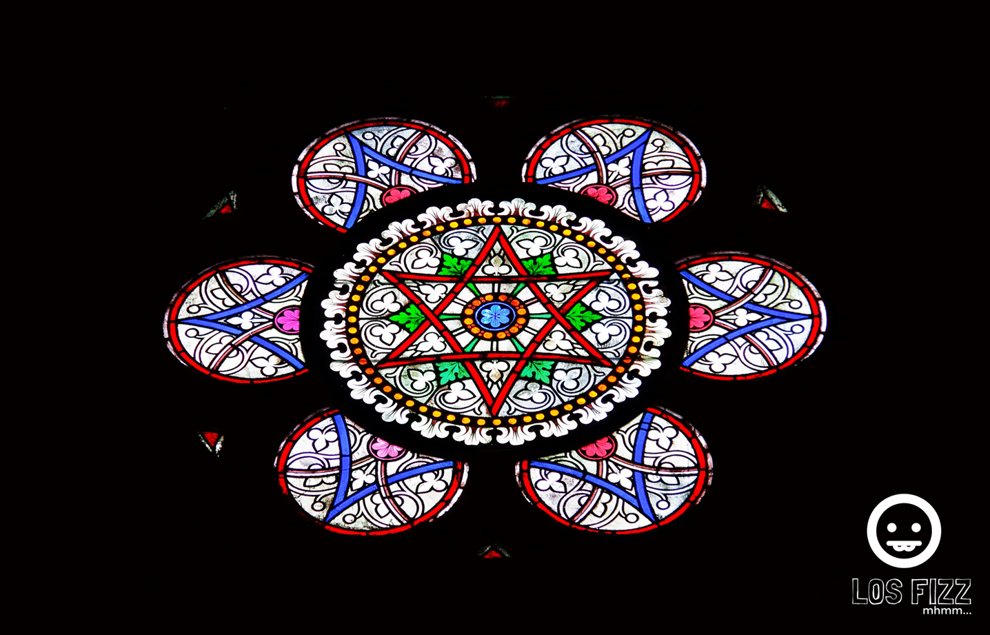 Stained glass from Notre Dame Cathedral in Paris, France Photo By LosFizz.