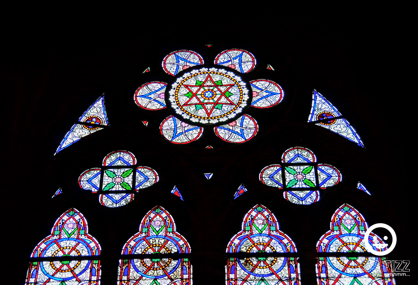 Stained glass from Notre Dame Cathedral in Paris. Photo By LosFizz.