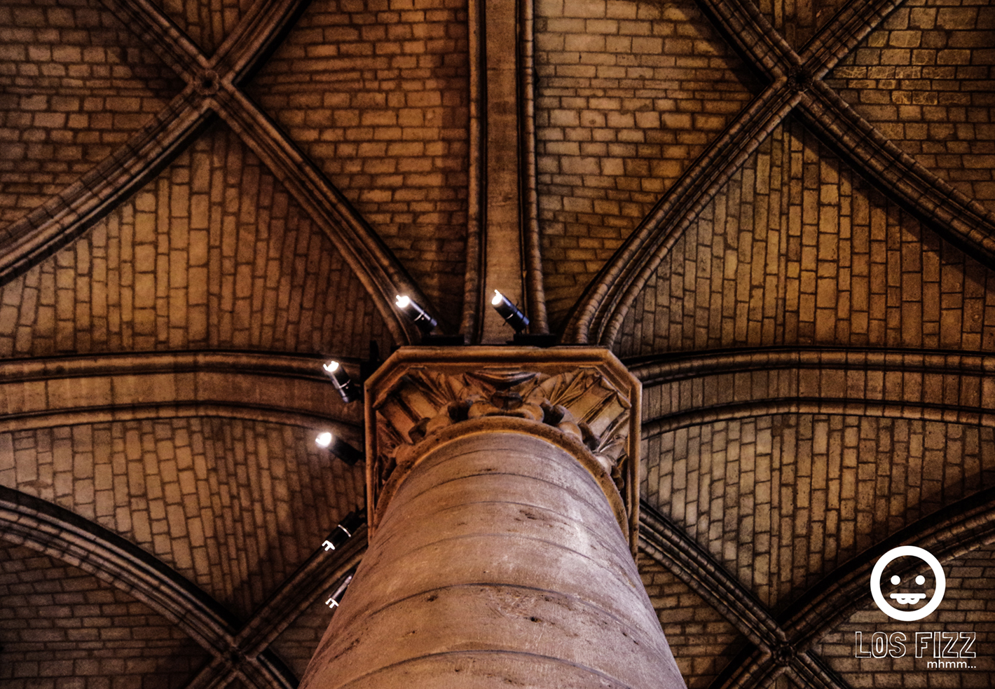 Column, Pillar inside of Notre Dame Cathedral in Paris, France Photo By LosFizz.