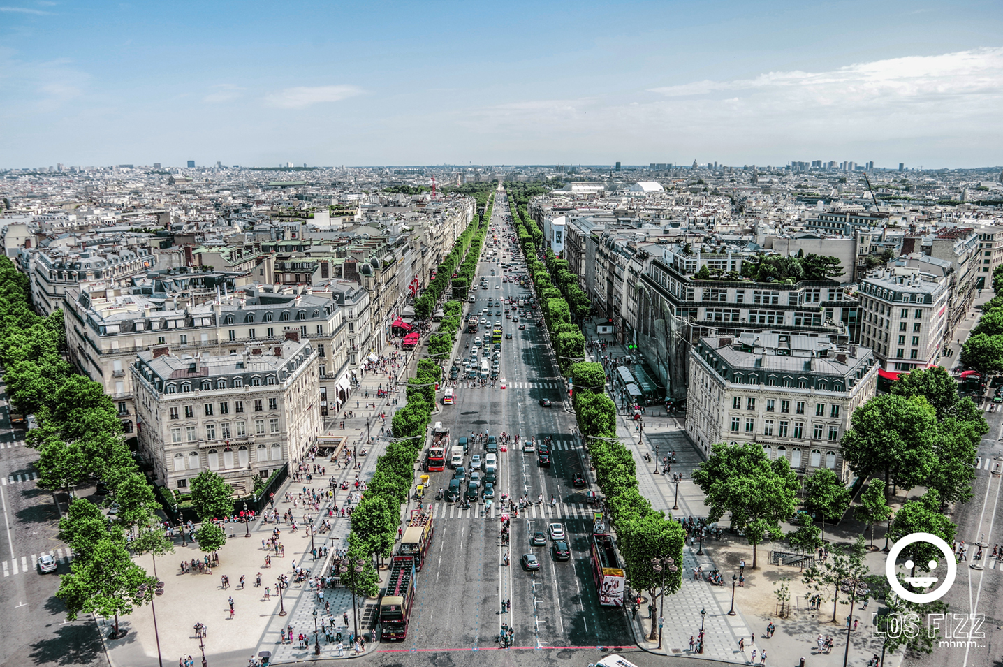 View from the top of the Arc De Triomphe in Paris, France. Photo By LosFizz.