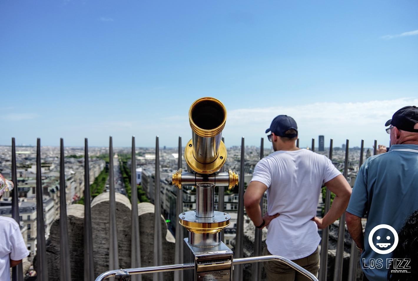 Arc de Triomphe lookout, binoculars in Paris, France. Photo By LosFizz.