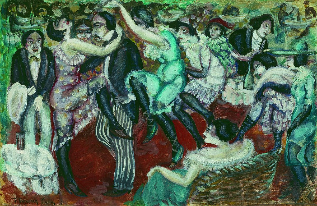 Boris Grigoriev (1886-1939)  Café chantant, 1913  Tempera and lacquer on light-brown board  48 x 73 cm (18 7/8 x 28 ¾ in.)  Petr Aven Collection