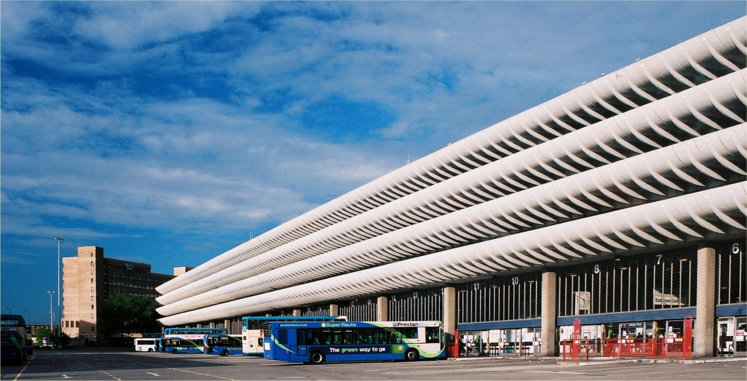 Preston Bus Station (1968-1969). Built by Ove Arup and Partners with a design by Keith Ingham and Charles Wilson.Saved with the help of C20.