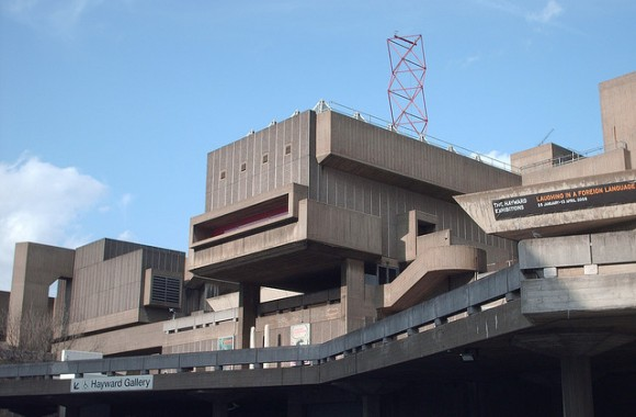South Bank Centre, London. Constructed by the LCC's / GLC's Architect's Department between 1963 and 68. It sits in the Southbank Conservation Area, between the National Theatre (Grade II * listed) and Royal Festival Hall (Grade I listed).The complex – an arts centre which includes the Purcell Rooms, Queen Elizabeth Hall and Hayward Gallery – showcases some of the best and most important Brutalist architecture in the country. Plans for demolition have been dropped after C20 published a massive photomontage.
