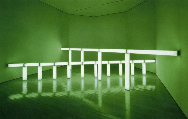 greens crossing greens (to Piet Mondrian who lacked green),  1966 Green fluorescent light Photo courtesy of Stephen Flavin © 2015 Stephen Flavin/Artists Rights Society (ARS), New York