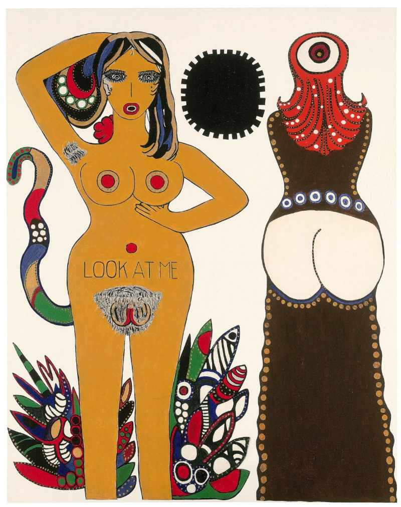 Dorothy Iannone, Look at Me, 1970-1971. Acrylic on canvas. Courtesy of Peres Projects