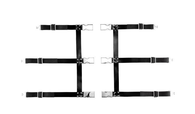 Silver latex harness.