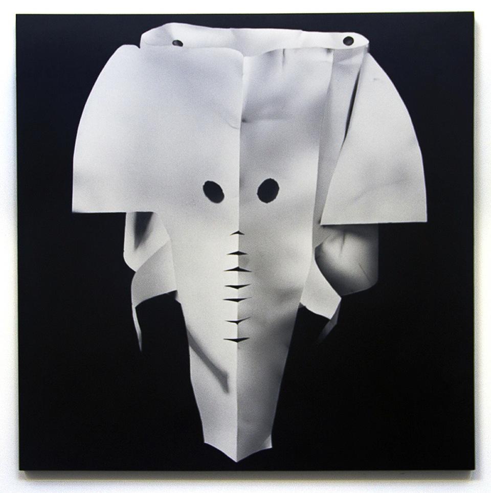 KARA JOSLYN, ELEPHANTASMAGORIA , 2016, ACRYLIC AND POLYMER CAR PAINT ON PANEL, 36 X 36 INCHES.