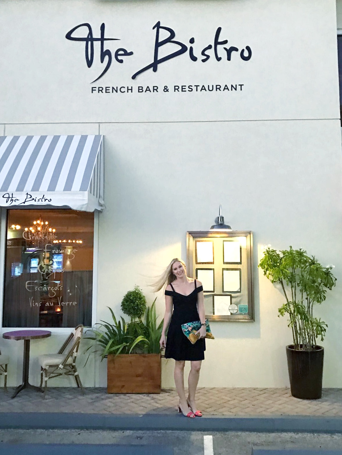 Dining at The Bistro. Dress - Milly (Carey's Karma Closet), Bag - Camilla, Shoes - DSW , Watch - Larsson & Jennings