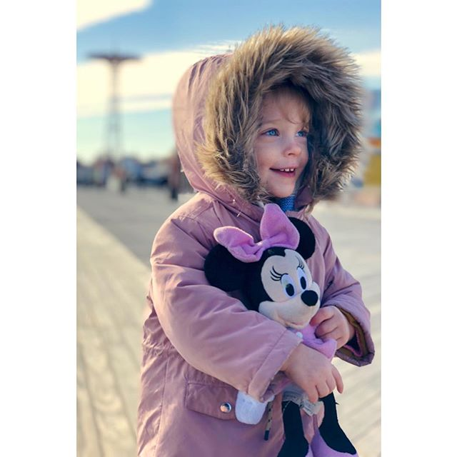 Ava, Minnie, & Daddy went for a stroll along the boardwalk in Coney Island today. #coneyisland #nyc #winter #baby #explorer