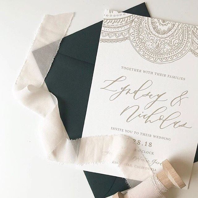 Our girl @twinkleandtoast creating all kinds of pretty for our clients 🙌🏼 We are digging that deep green envelope + Moroccan design! Just wait till you see the rest of the wedding details next month at @sandiegobotanicgarden #weddinginvites