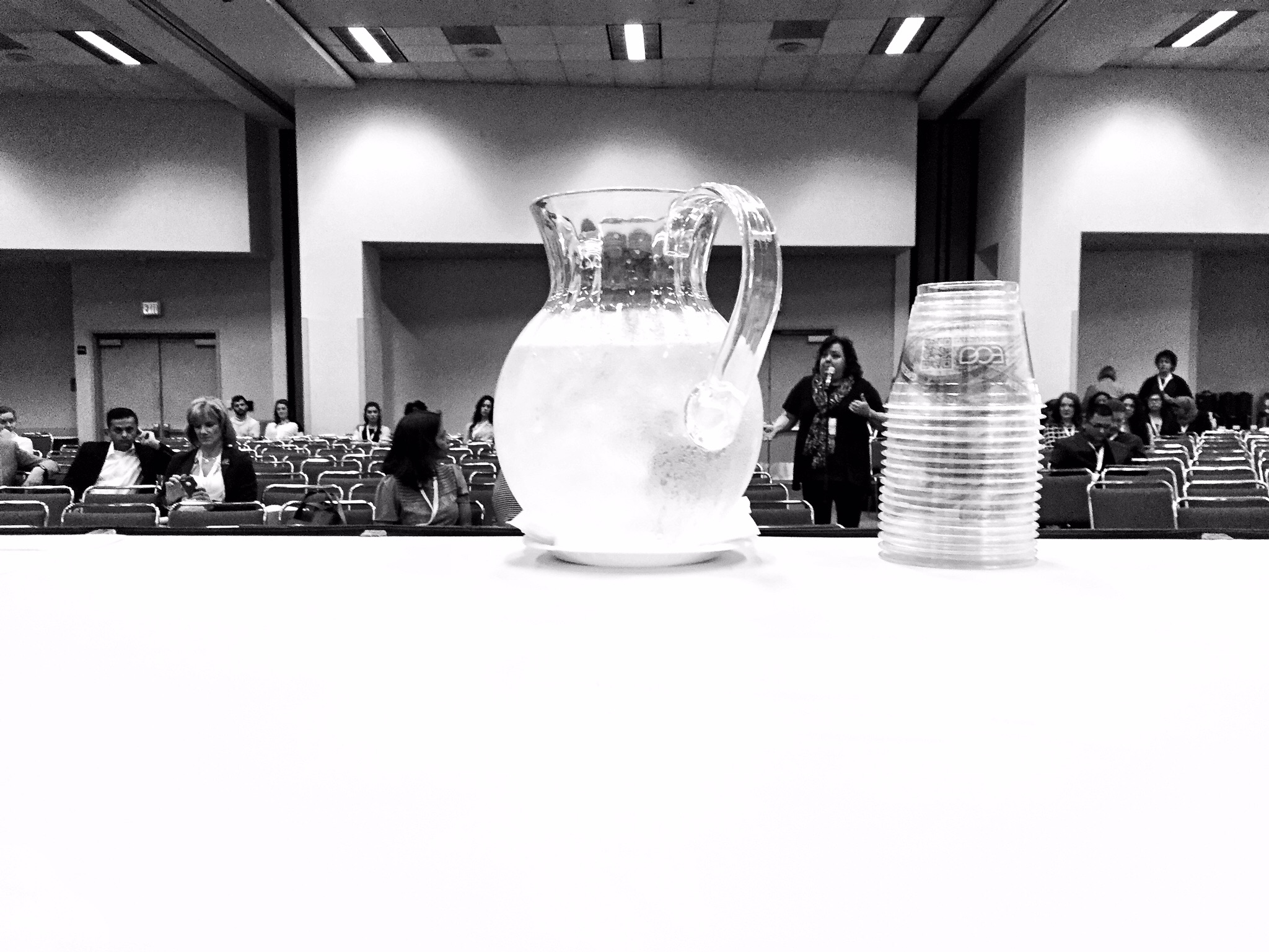 Sitting and waiting for the presentation to begin, a nervous moment for me. The water was great by the way.