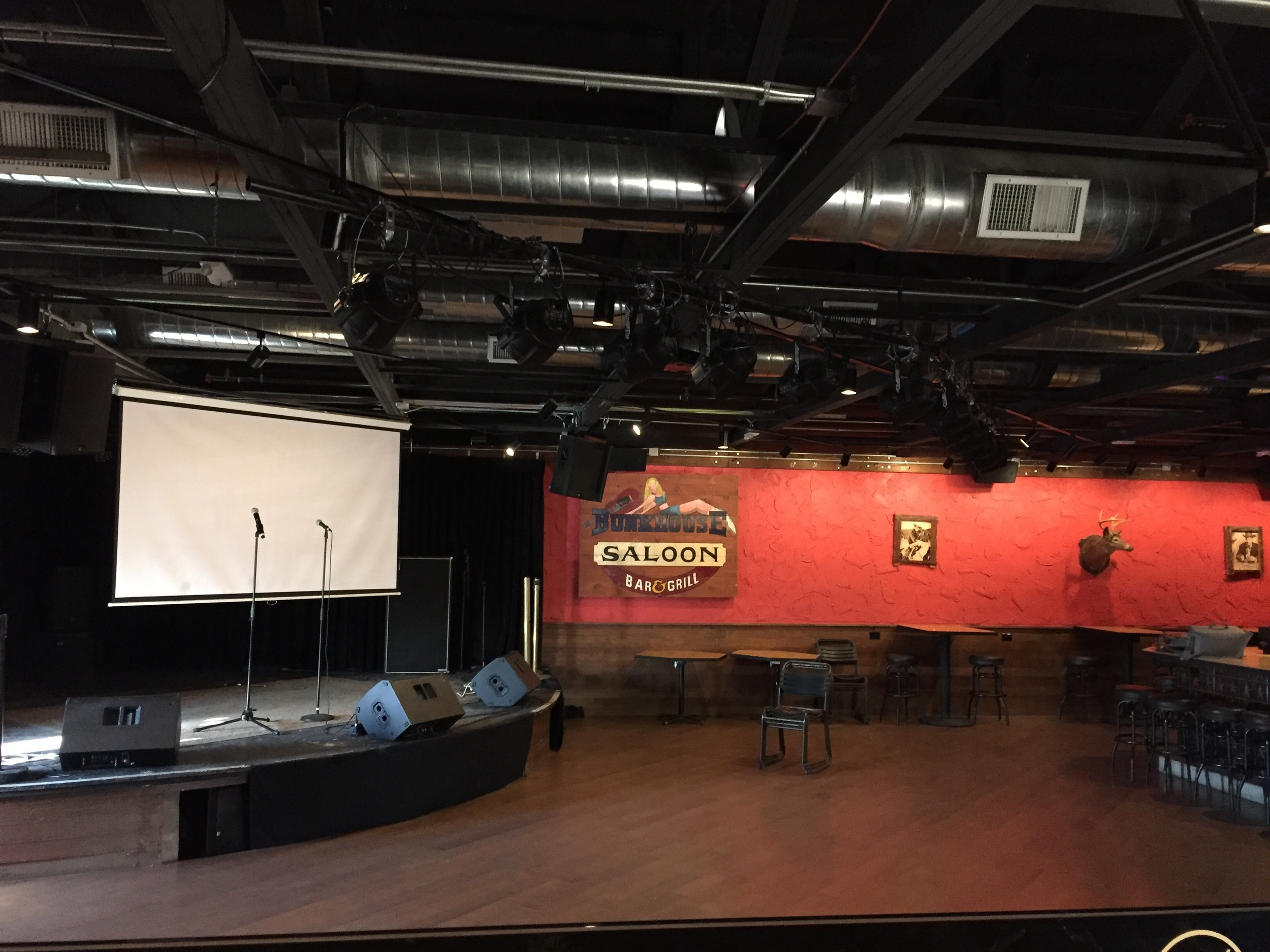 """First look at our """"classroom"""" inside the  world famous Bunkhouse Saloon.  Time to set up!"""