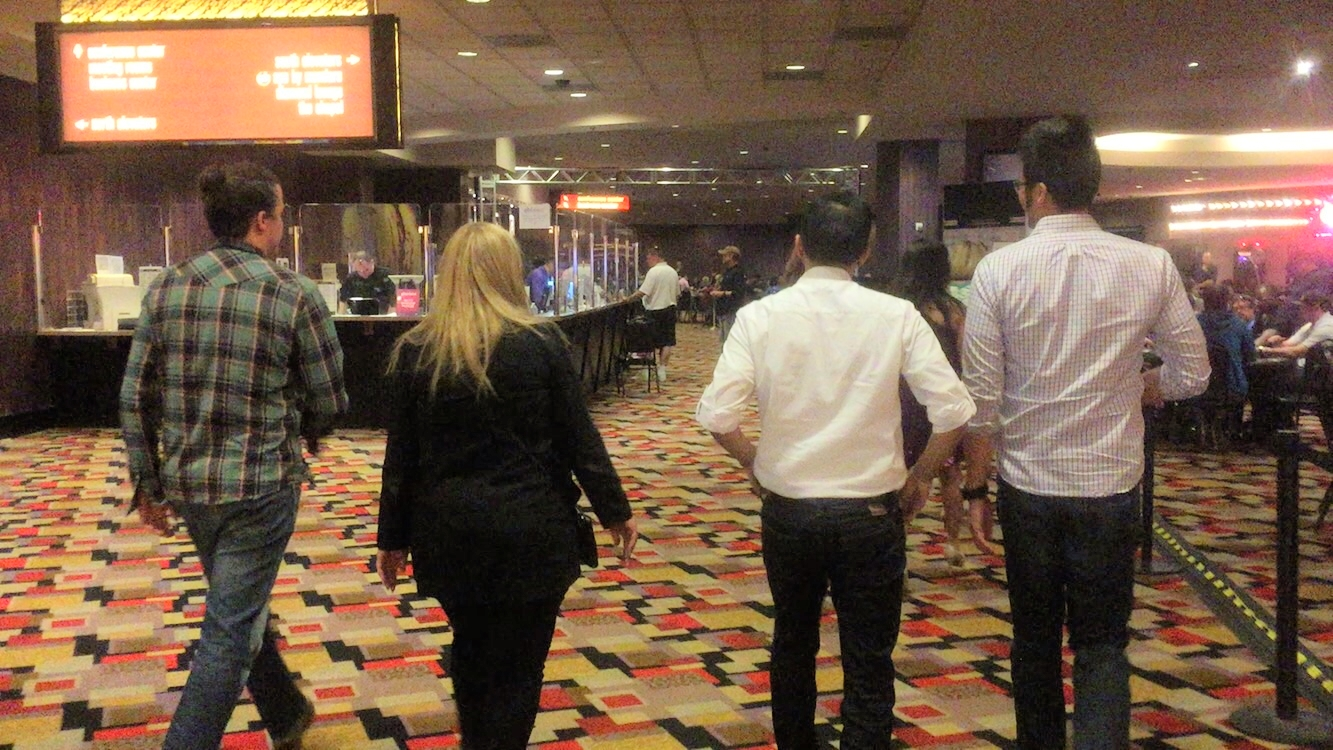 Our Instructor Irene Davis  walking back to the room after dinner in Planet Hollywood.