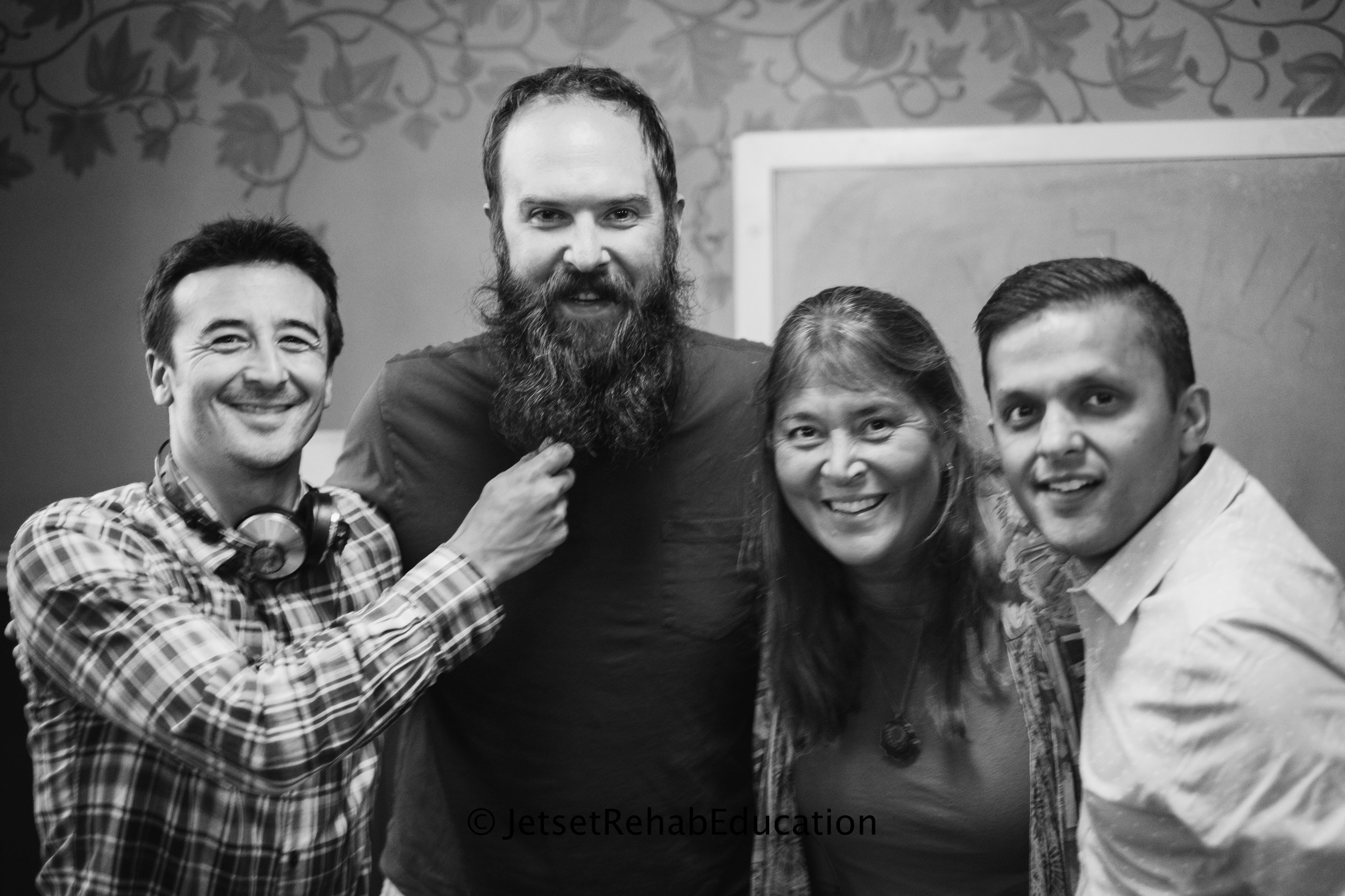 From left to right:  Randal Glaser, Paul Tucker,  Melanie Carlone , Jay Bhatt.  Podcast recorded during our Portland happy hour.