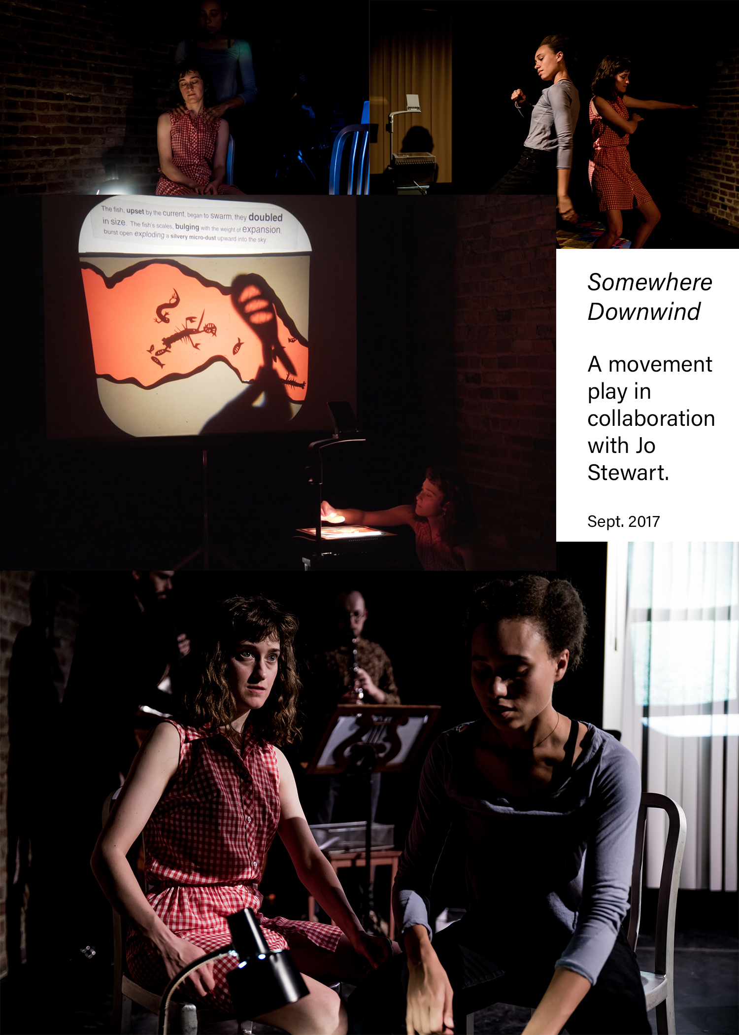 """Somewhere Downwind is a collaboration with Jo Stewart. It is a movement, performance piece that was performed at The Brick in Williamsburg, Brooklyn in September 2017. Somewhere Downwind consists of an improvisational score in 4 parts and it aims to construct a visual diary of sorts commenting on the nature of """"dwelling."""" In it, we used weather phenomenon, patterns, and forecasts to measure our sense of permanence and test the vulnerabilities of our chosen shelters—whether those shelters be relationships, houses, or communities.We move between dance, mime, and puppetry with live accompaniment by Aaron Rourk and Zack Nestel-Patt on the clarinet and double bass."""