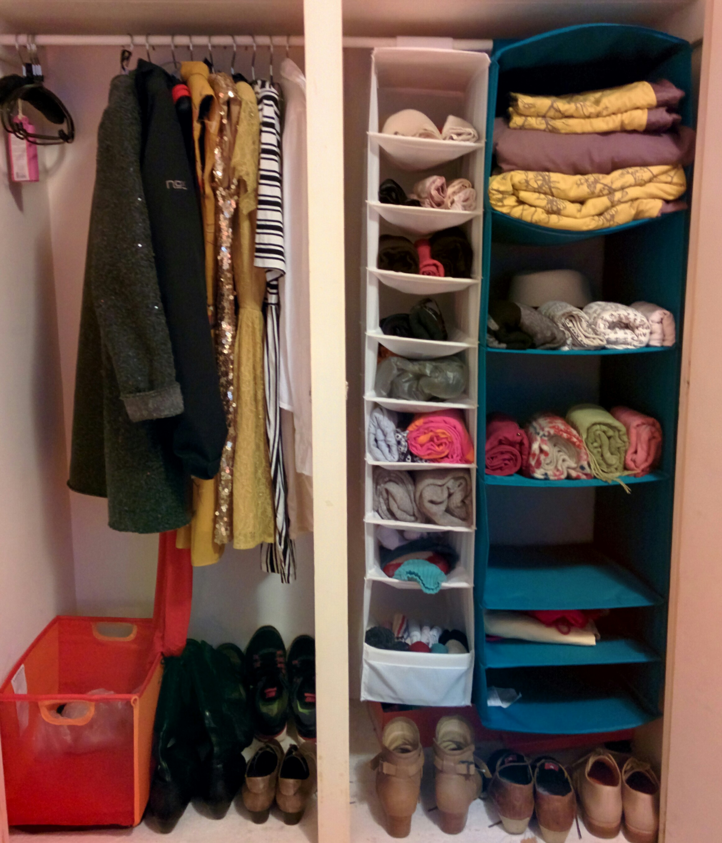 After the discarding and folding. I have to say this closet never looked this tidy!