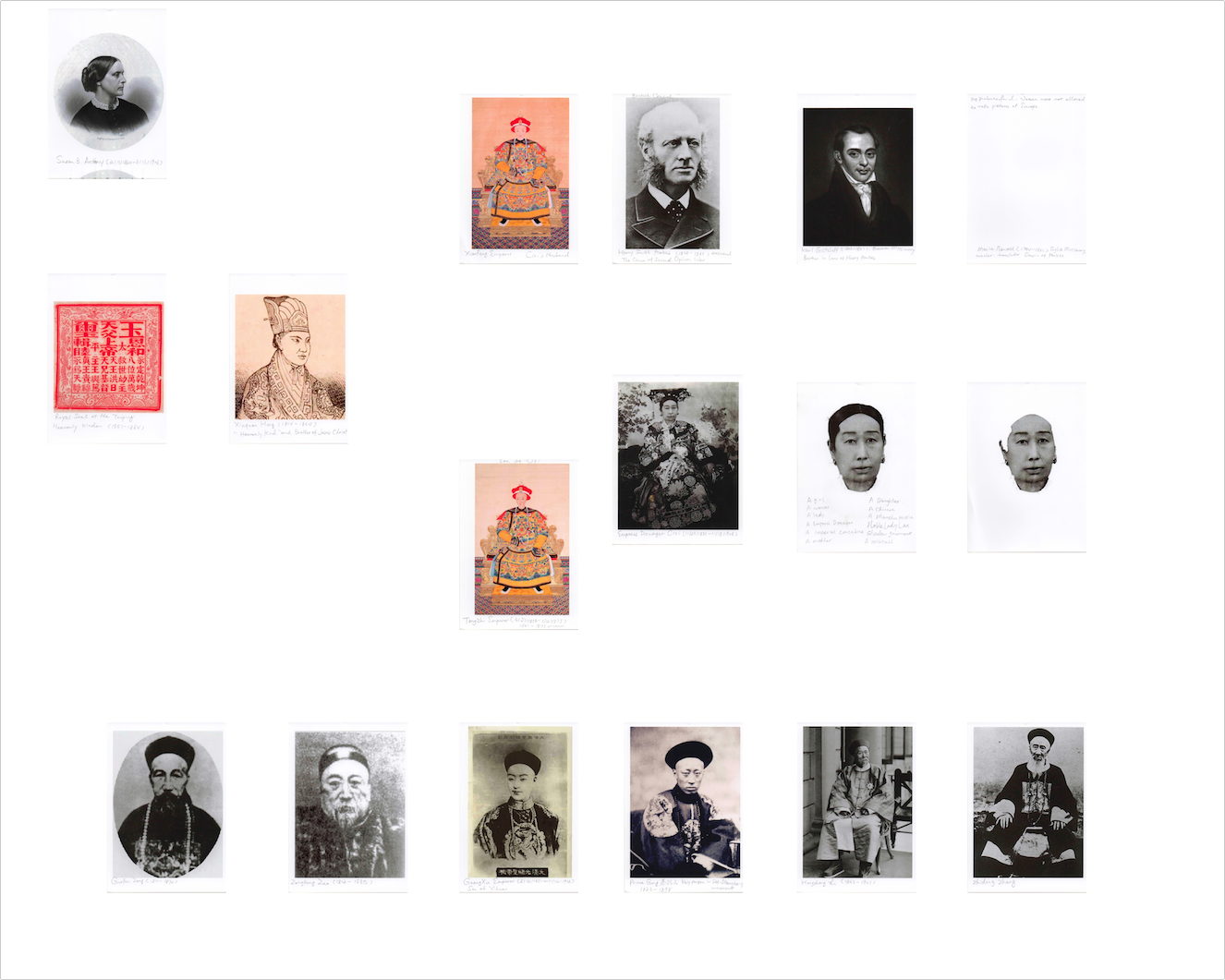 File Name: Birth_Cixi_Relationship_diagram_1.jpg  Where: Department of Archive, Flushing Artists Society  Archival photographs incorporated into a diagram of key historical figures related to the Empress dowager Cixi. Inspired by Institutional Critique and a rethinking of Conceptual Art, Birth I incorporates a performative aspect where I teach a history class in the exhibition space and explain my analysis to the audience drawing and making notations directly on the whiteboard.