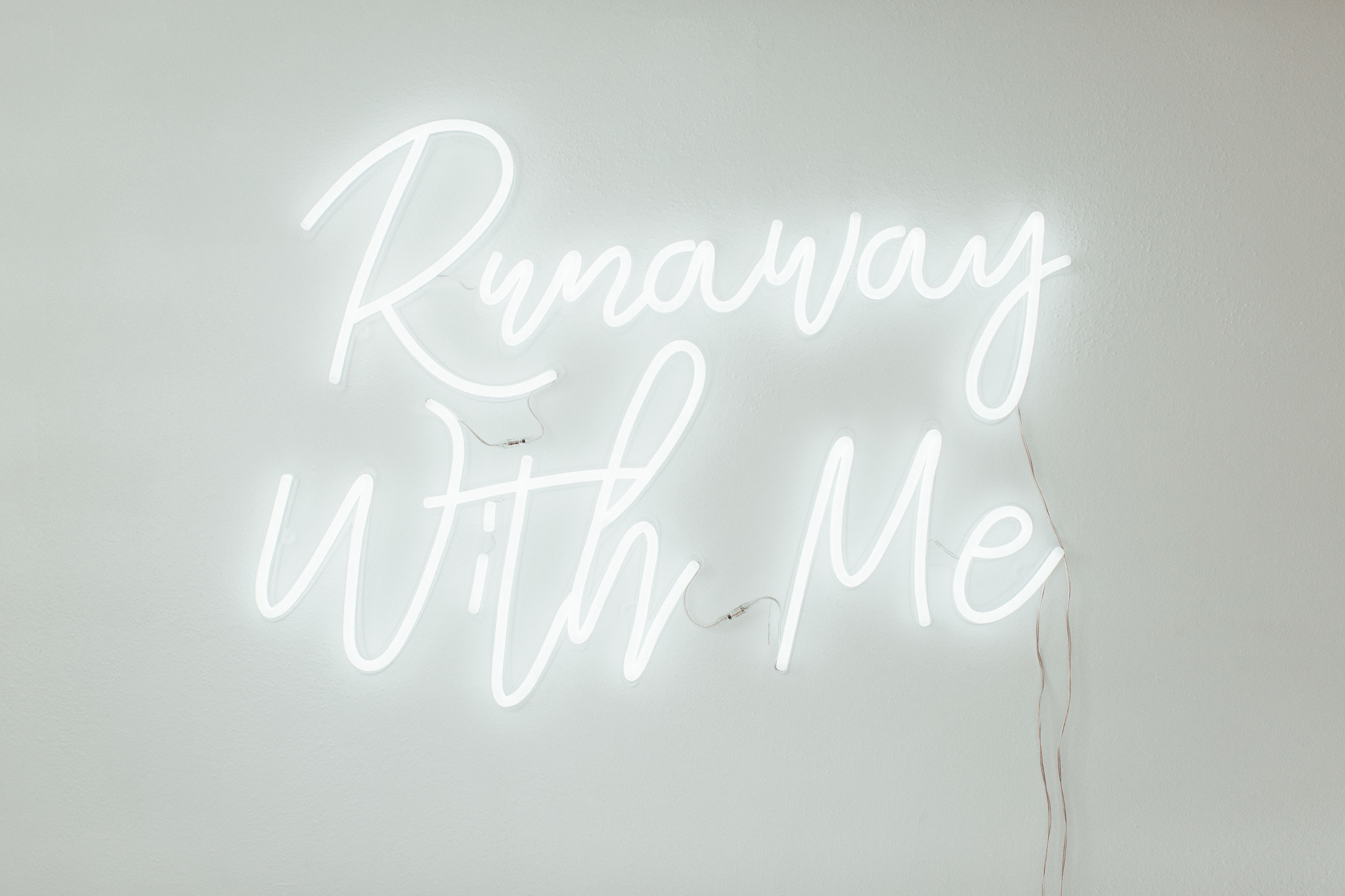 Runaway With Me: Custom Modern White Neon Wedding Sign by Neon Dive Bar