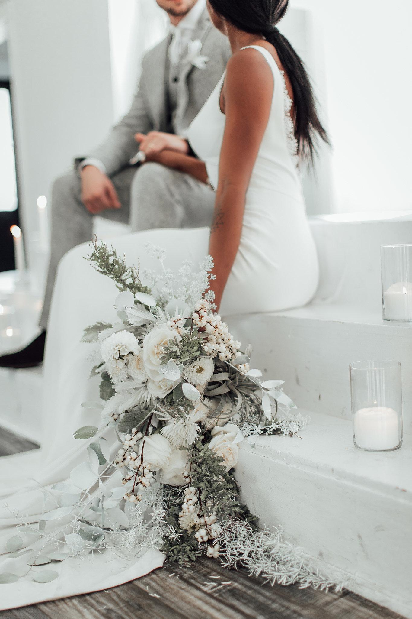 A New Winter Mix: Monochromatic White Wedding Styled Shoot Bouquet Inspiration