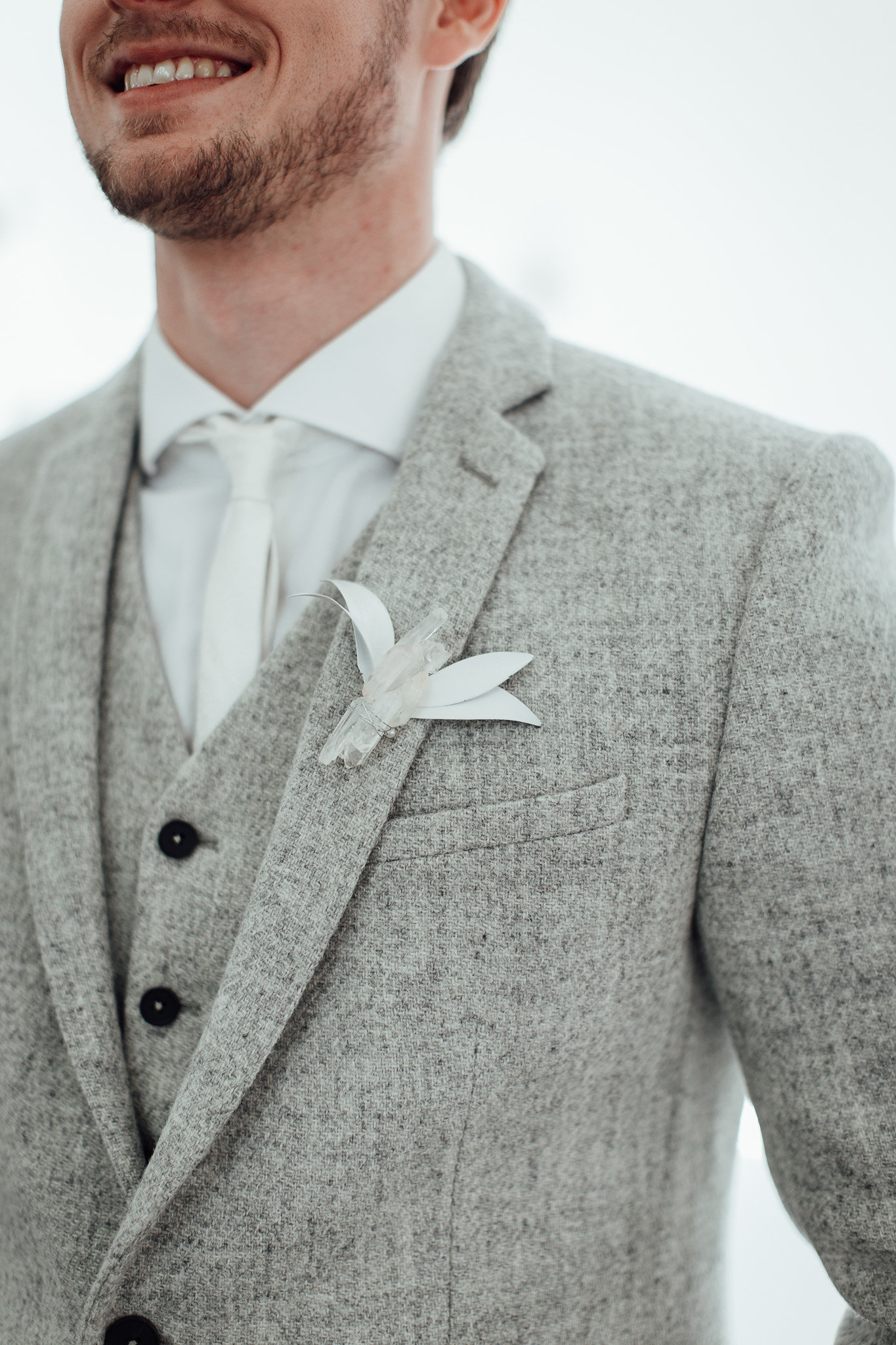 A New Winter Mix: Monochromatic White Wedding Styled Shoot Crystal Boutonniere