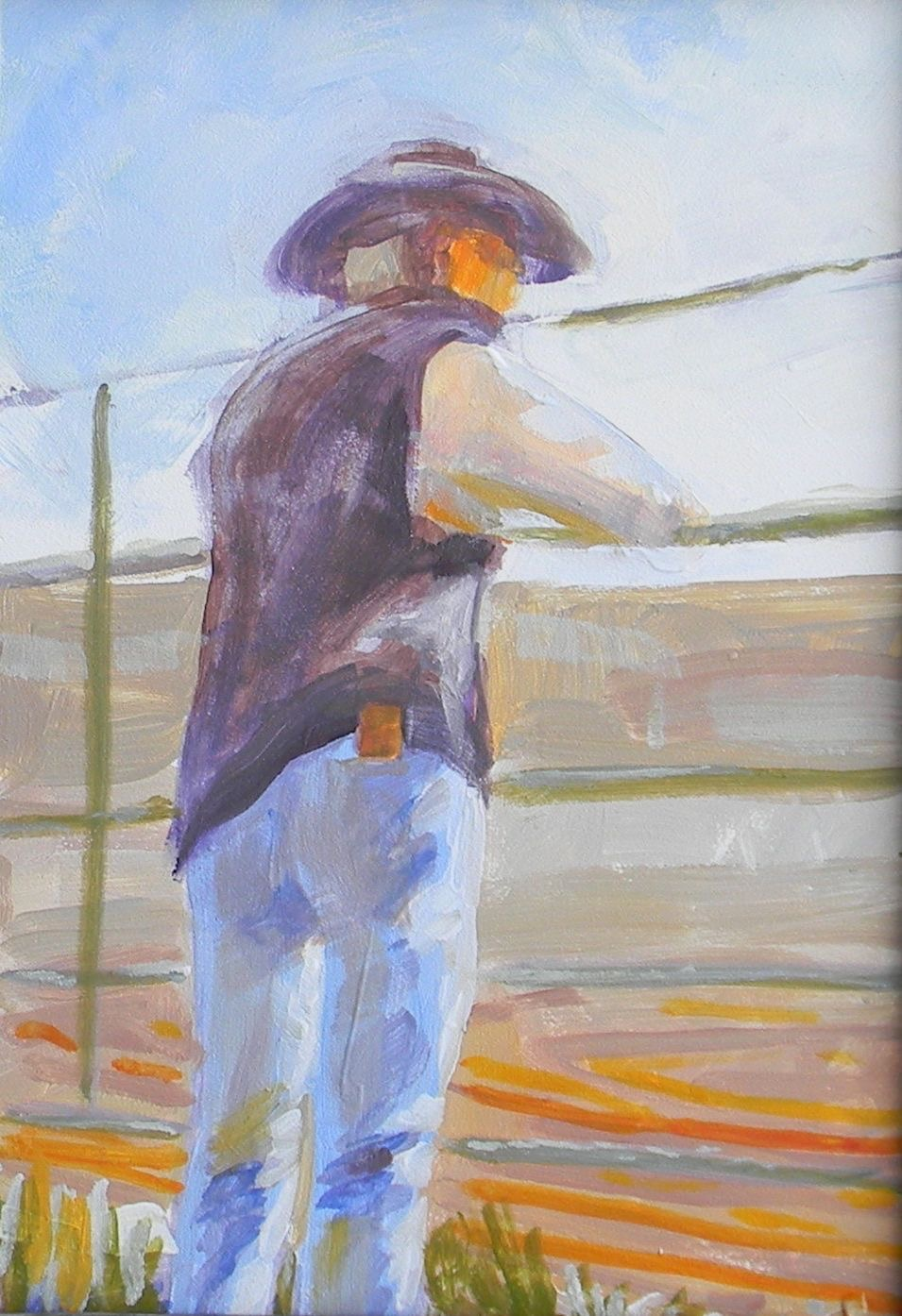 Spectator  Sketch from rodeo  Oil on panel