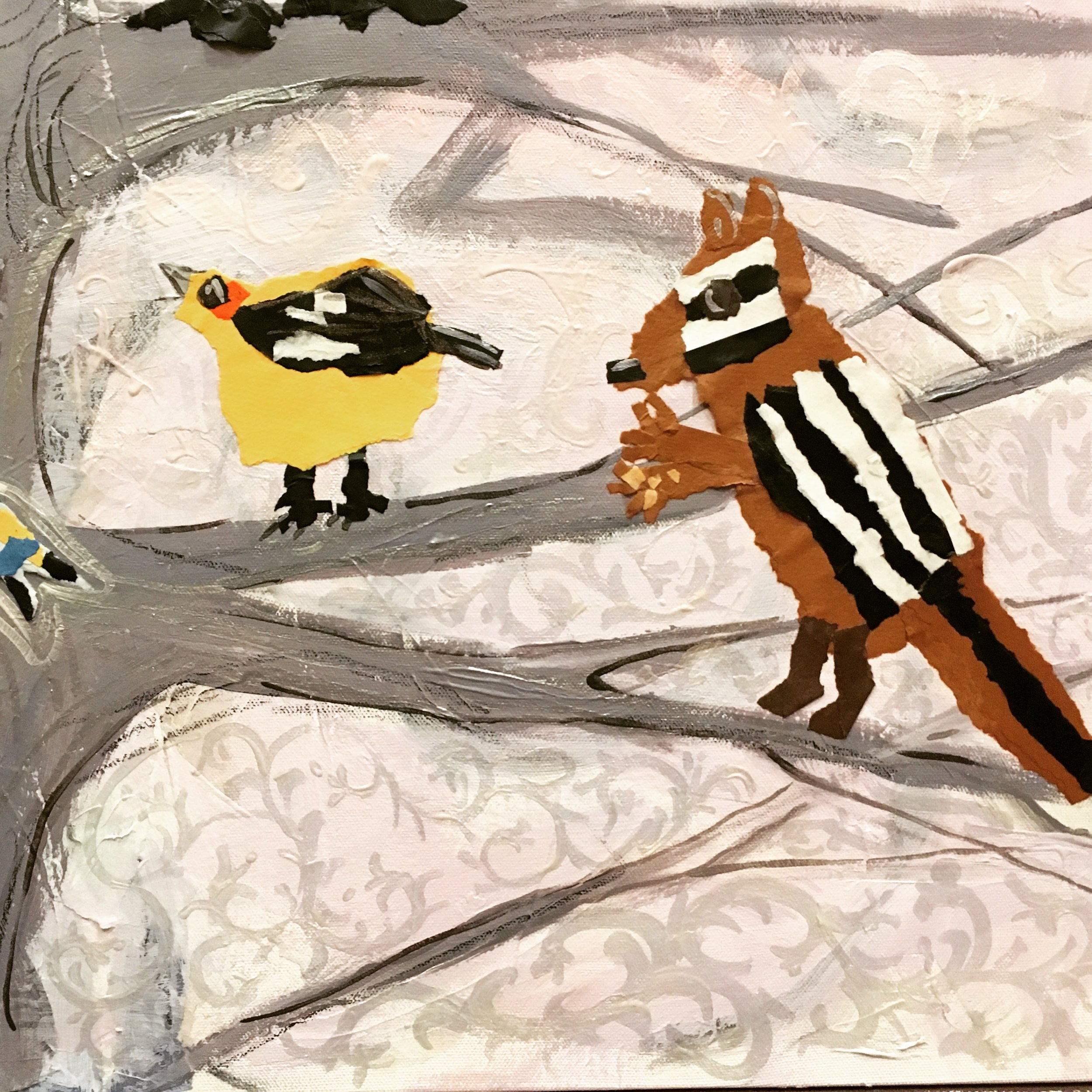Detail from Bird Tree  Paper collage and acrylic paint on canvas  4th grade torn paper collages and my painting