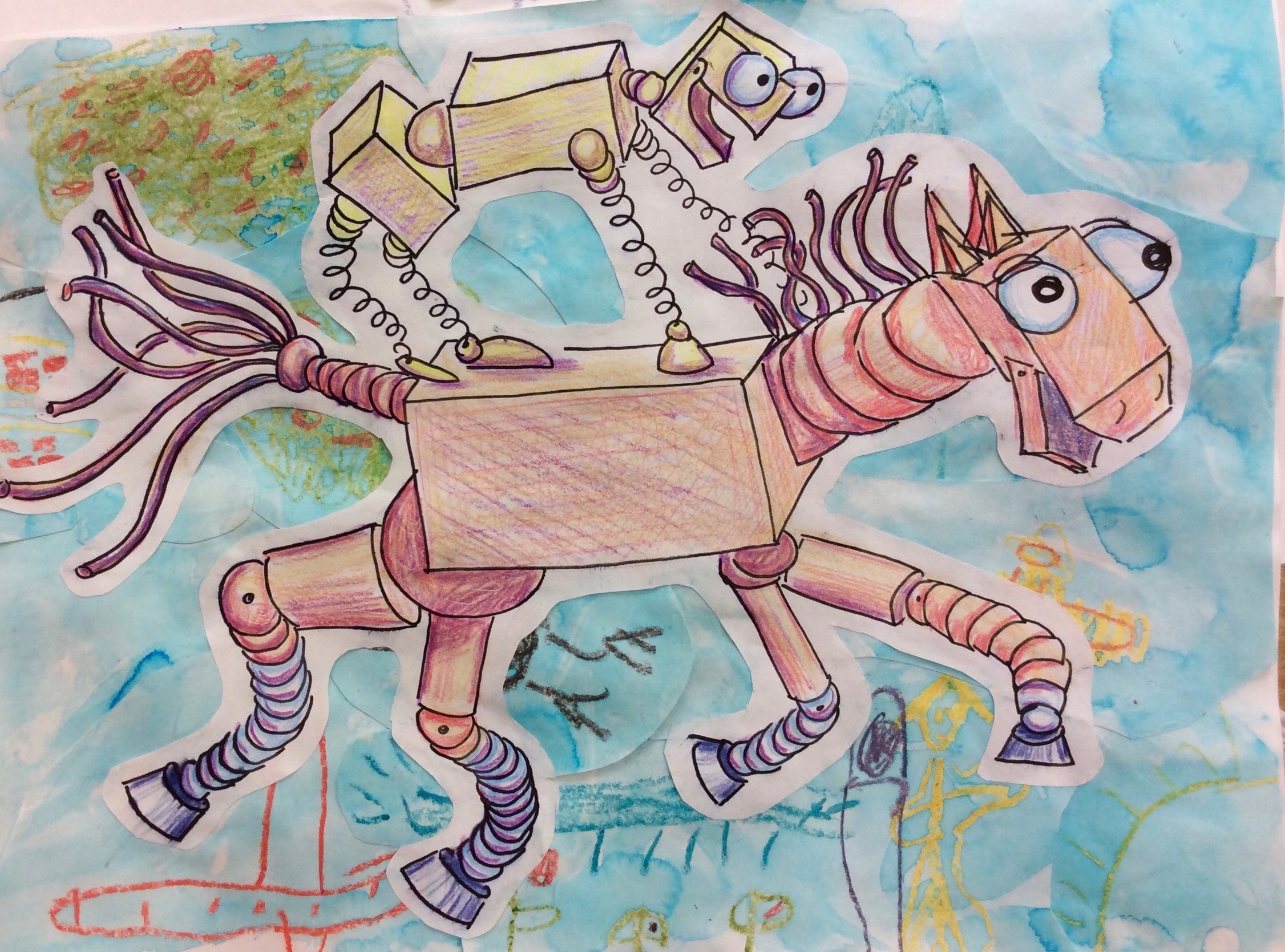 Robot Cristy Rides Robot Bruce  Example drawing using discarded student watercolor