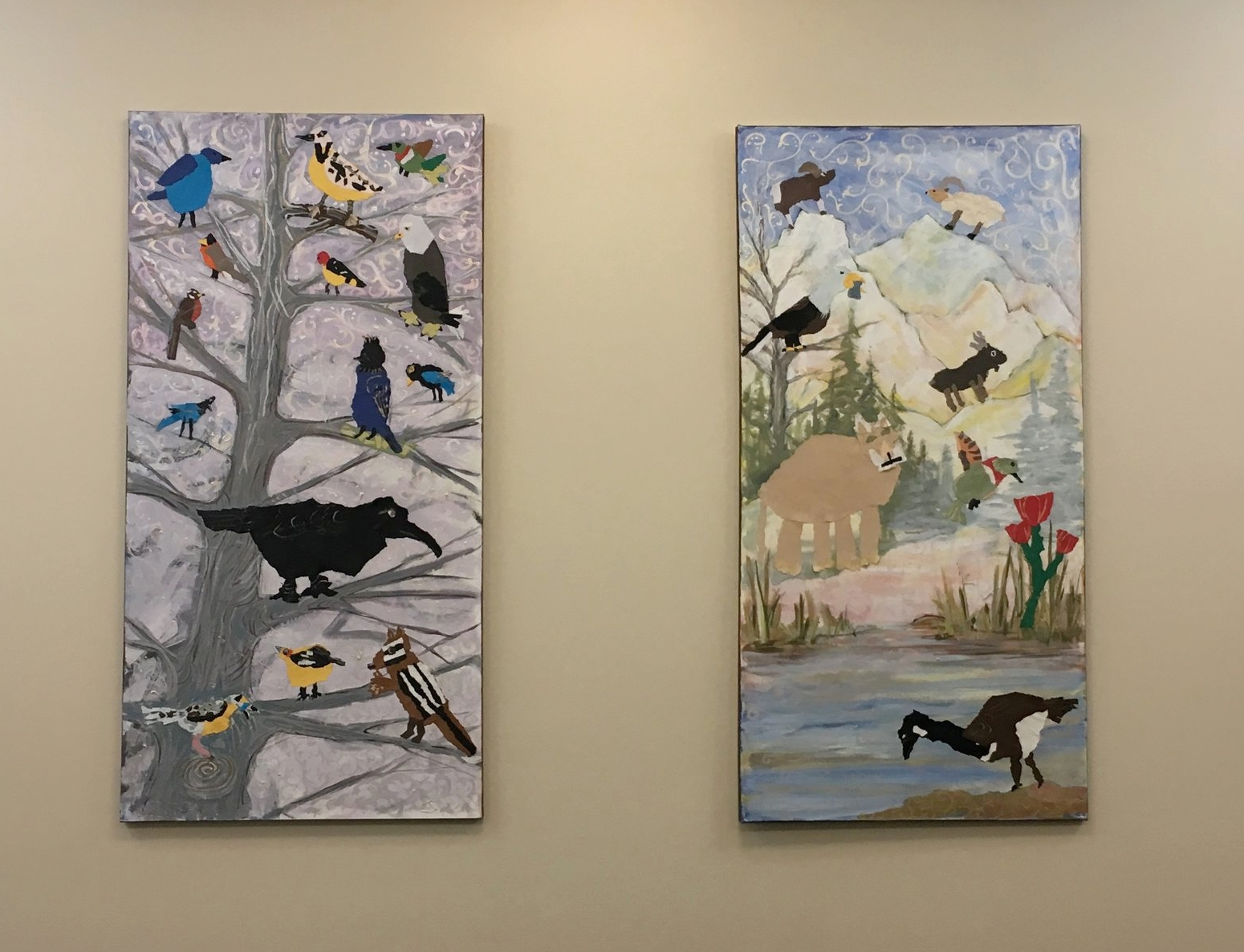 "Bird Tree and Alpine Habitat installed   Student collages and acrylic painting on canvas  Each 24"" x 49"""