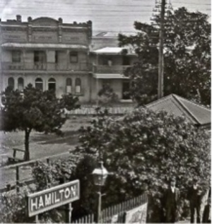 Sydney Junction Hotel and residence on the right Detail from Hamilton Railway Station, Hamilton, NSW, 12 April 1906  (Photograph by Ralph Snowball, part of the Norm Barney Photographic Collection courtesy of Cultural Collections, University of Newcastle)