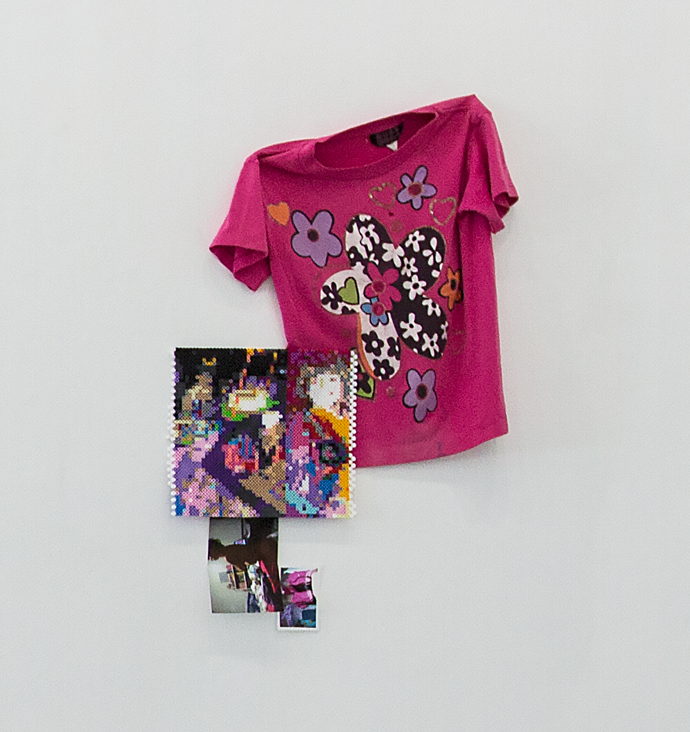 """Are you Her?   shirt, plastic beads, photographs  30"""" x 24"""" x 2""""  2017"""