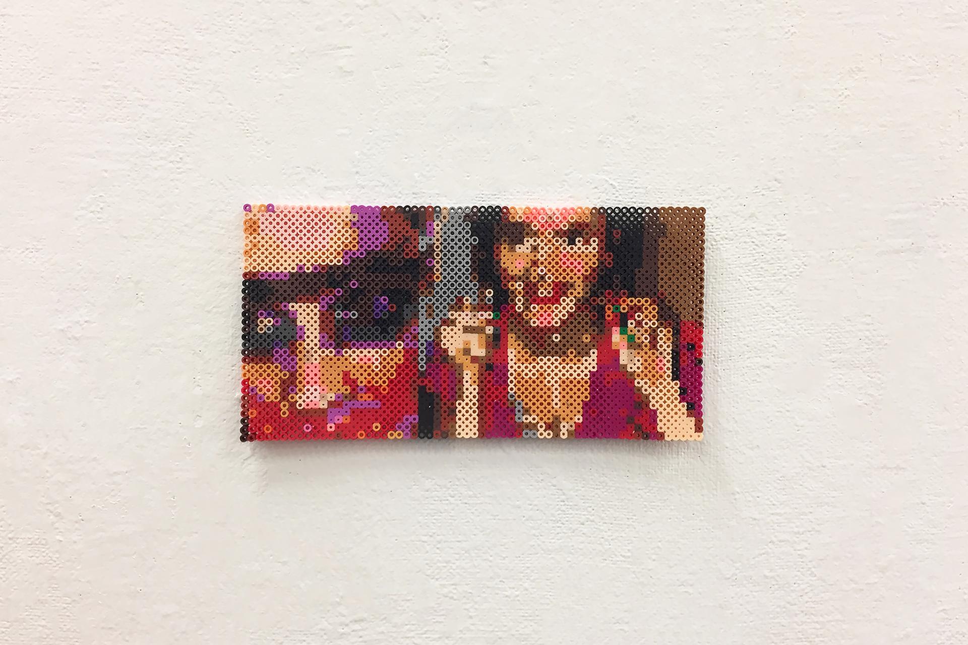 "Peeking   plastic beads.  5"" x 13"" 0.25""  2017"