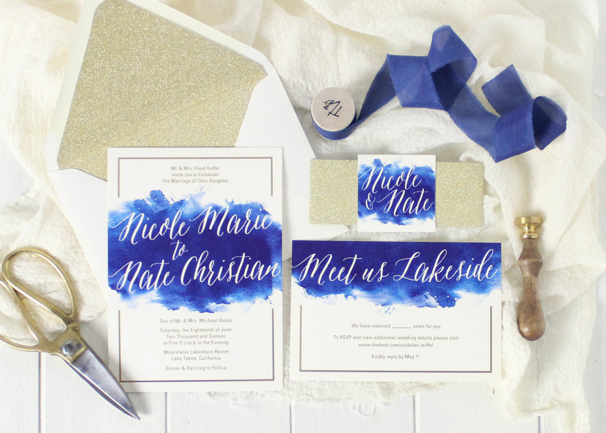 Blue watercolor wedding invitations