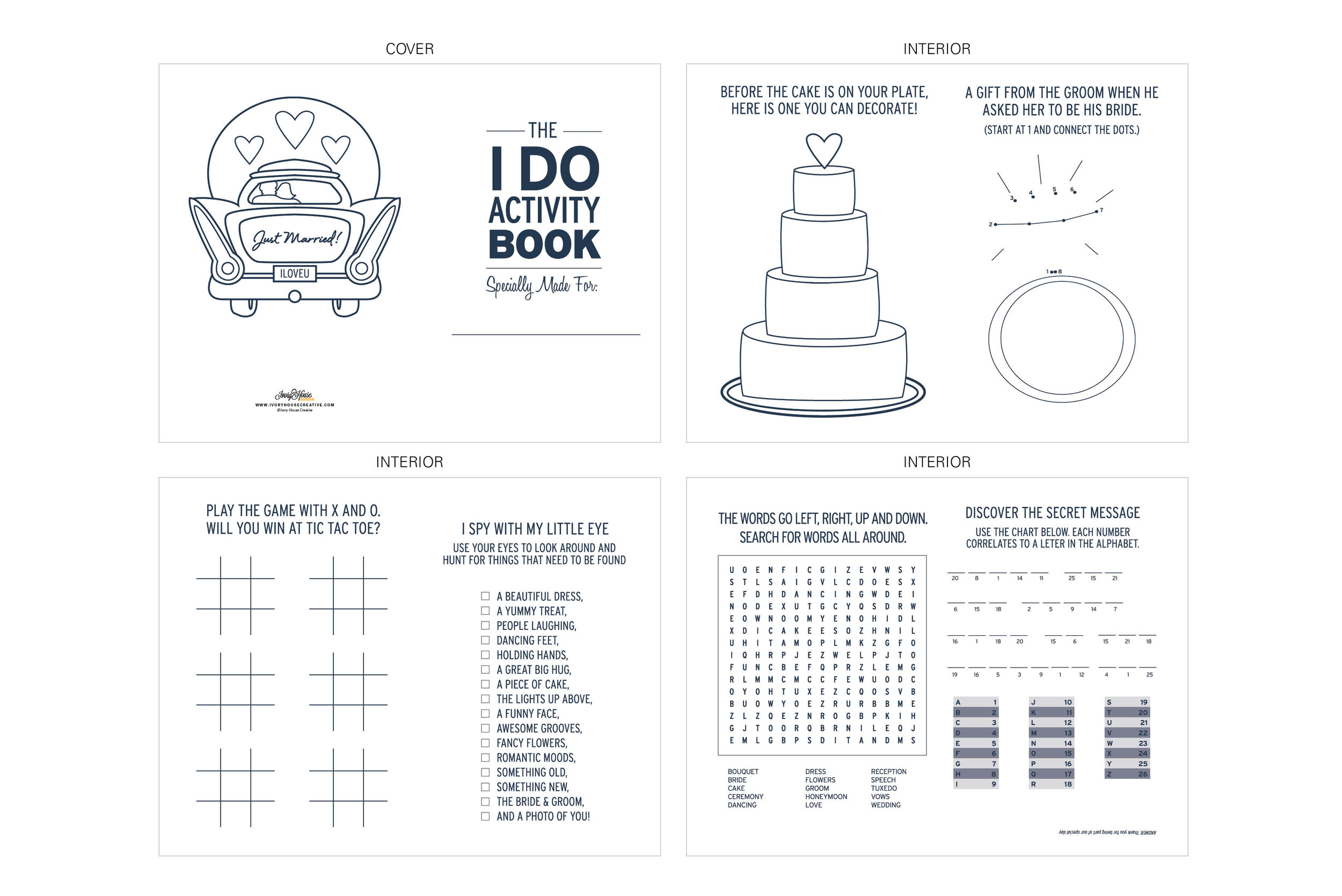 Printable Kids Wedding Activity Book — Ivory House Creative