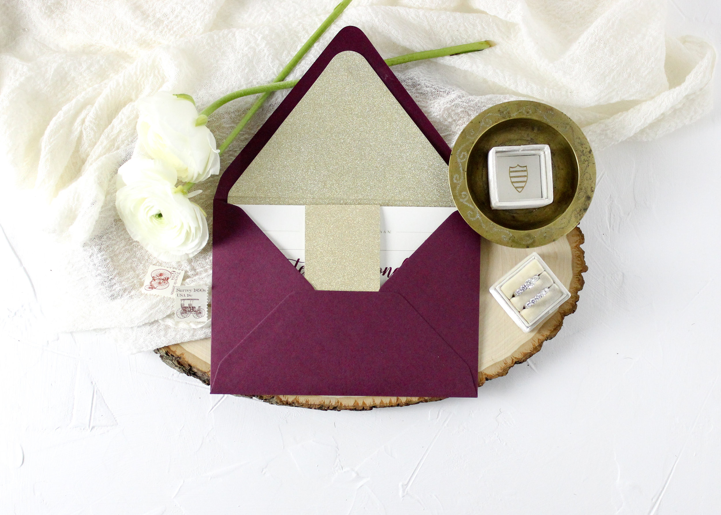 Gold and Burgundy Invitation Suite