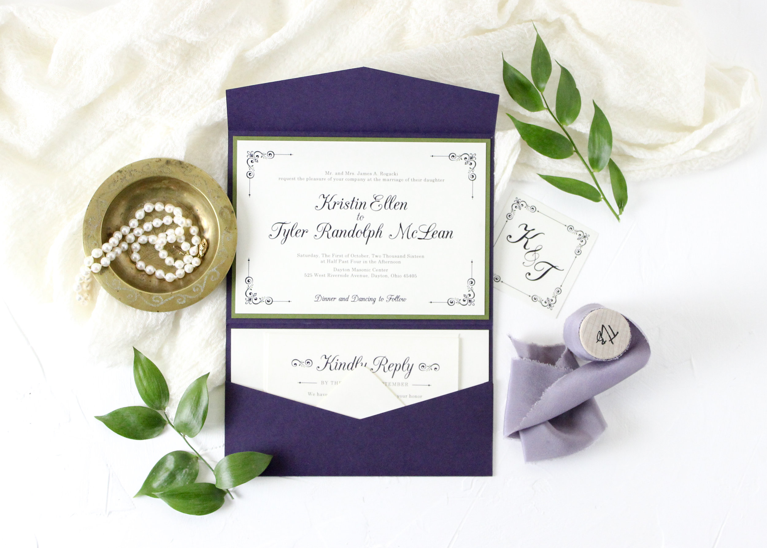 Purple and Sage Pocket Folder Wedding Invitation