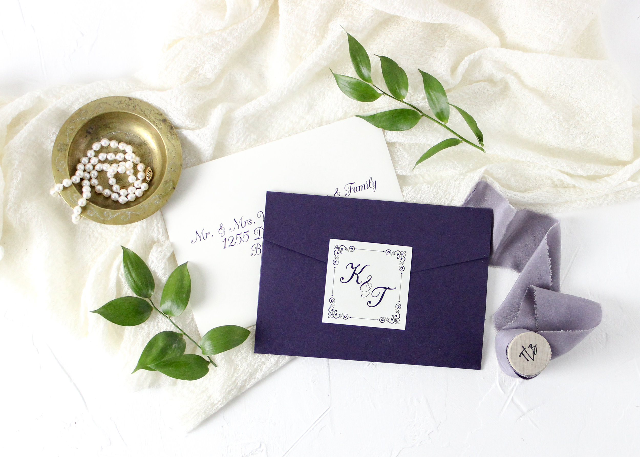 Purple Pocket Folder Wedding Invitation