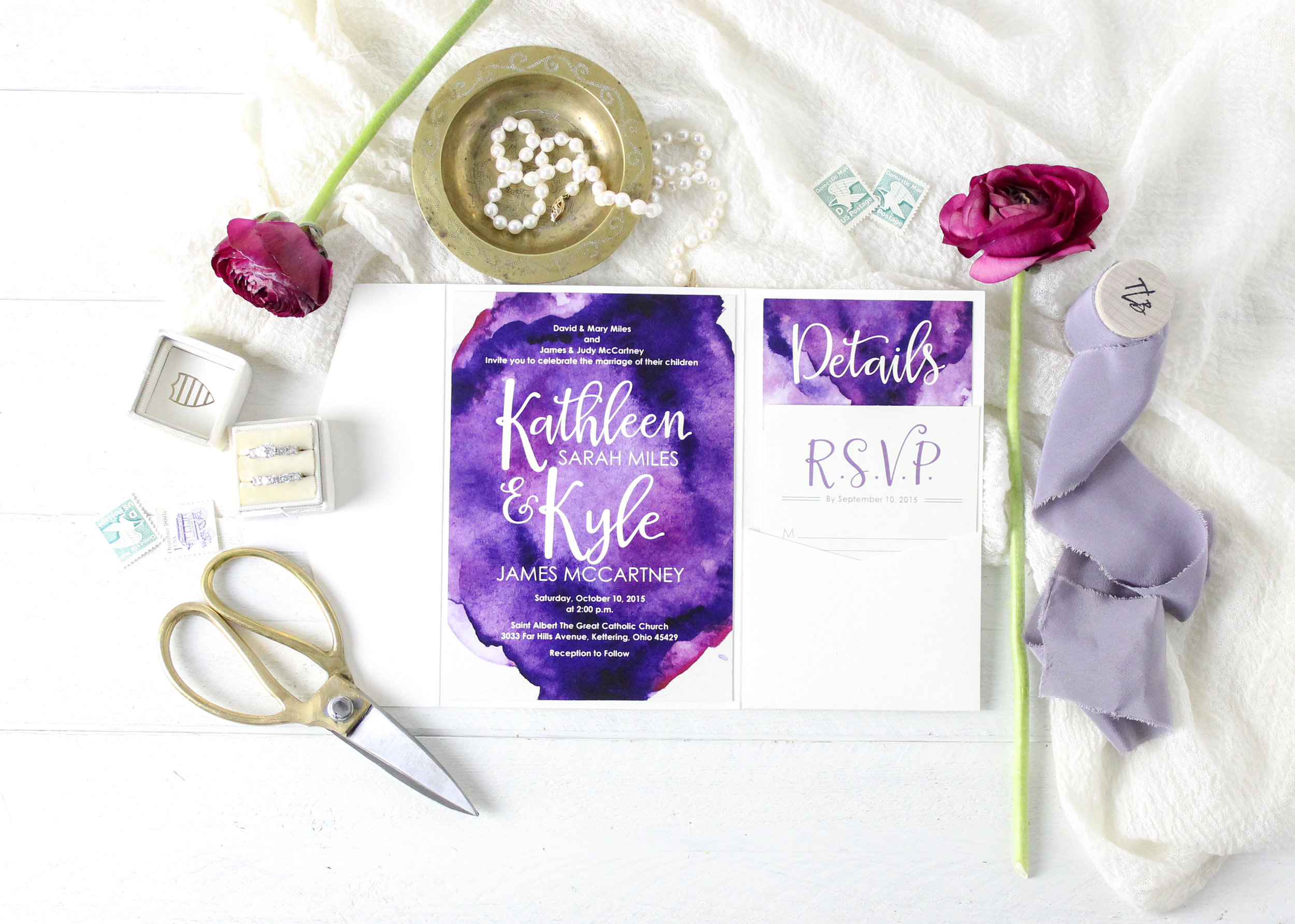 Purple Watercolor Pocket Folder Invitation