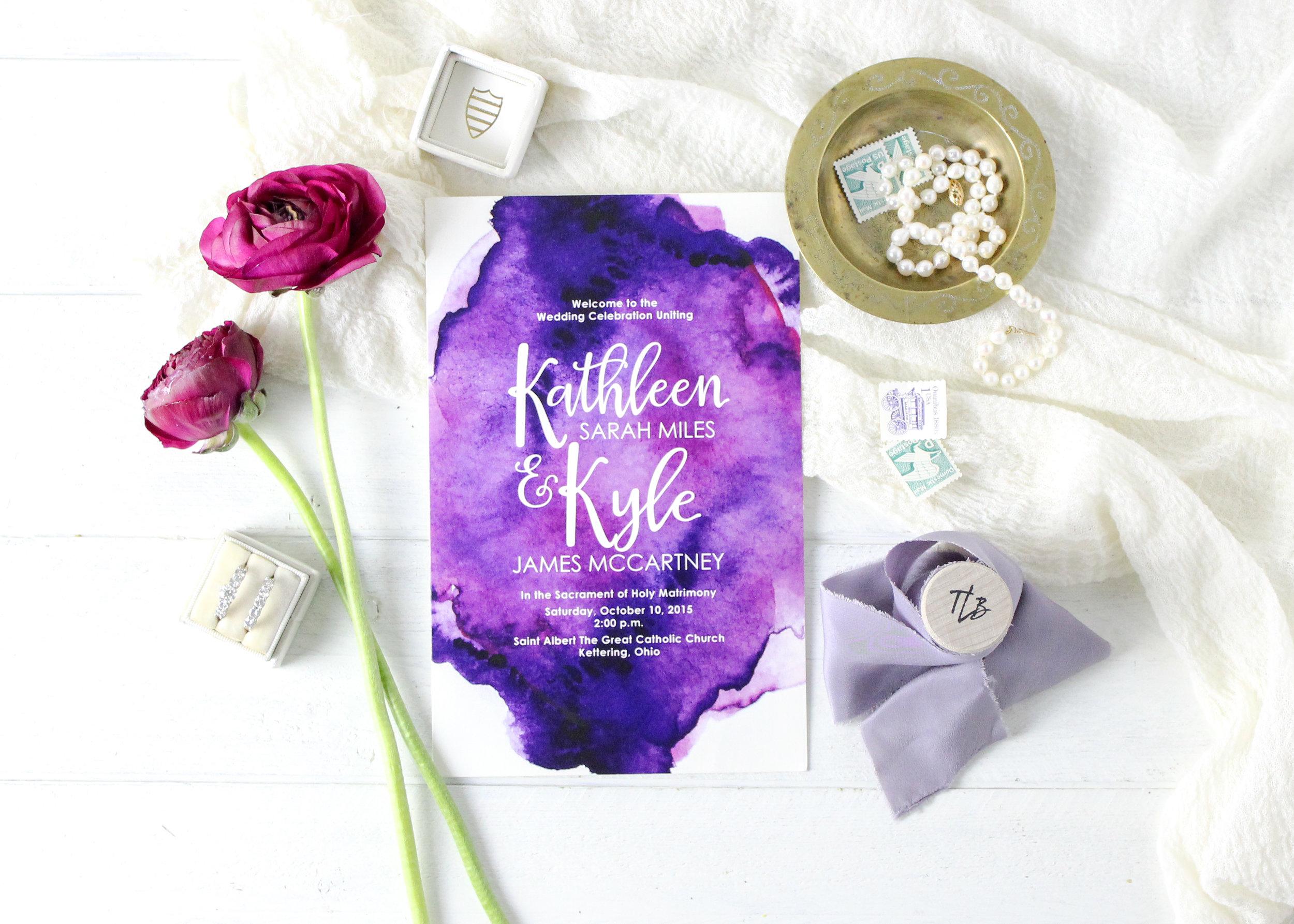 Purple Watercolor Wedding Ceremony Program